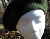 Hand Knit and Felted Women's Beret  - Heathered Forest Green