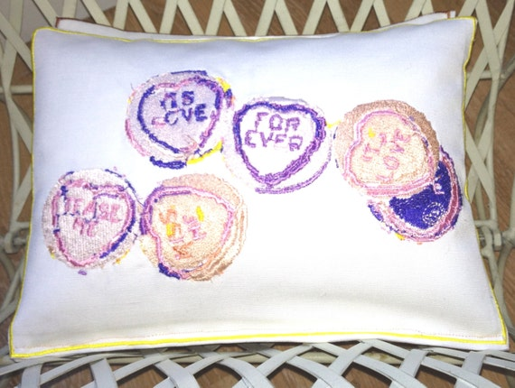 Love Heart Sweets, Artistic Embroidery - Throw Cushion
