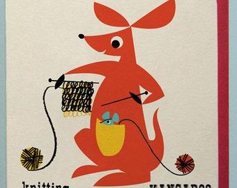 Knitting Kangaroo Card