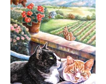 Black and White Tuxedo Cat Art - Tuxedo Cat Art - Orange White Cat Art - Cats In Love - Greeting Card By Phoenix Chiu
