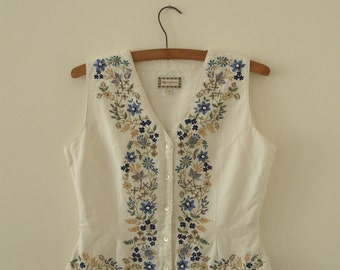 Upcycled Woman's Clothing Waistcoat Eco Summer Fashion Party Embroidered  Handmade in UK OOAK