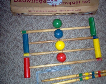 Vintage Four Player Skowhegan Wood Croquet Set - Vintage Croquet - Garden Croquet - Croquet - Croquet Set