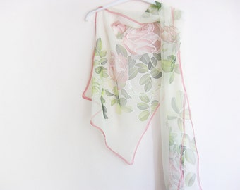 Silk chiffon scarf, hand painted silk, Wedding accessory, Bridal scarf, white scarves, silk art - made TO ORDER