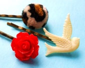 Rockabilly Bobby Pin Set  swallow rose leopard  animal print bronze hair clips slides pinup grips heart vintage