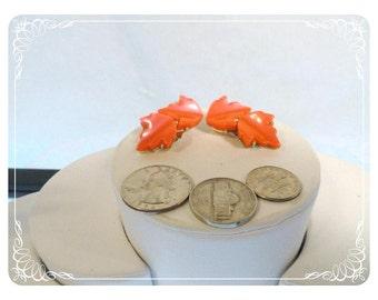 Orange Maple Leaf Vintage Clip on Earrings - Lucite Leaves   E880a-082912004