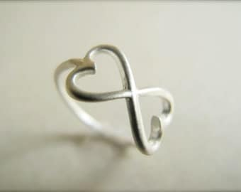 Double Heart Infinity Ring - Sterling Silver