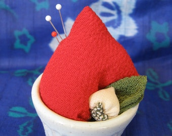 Pin Cushion with Japanese Kimono Fabric and small pottery, Strawberry,#2