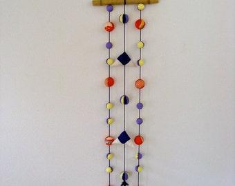 ON SALE,30%off,Japanese Wall  Hanging NO.1, Vintage Kimono fabric, Orange ,Purple,Yello