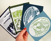 Card Set - Printed Papercut Illustrations - A2 Folded Greeting Card Set - 4 Nature Inspired Cards