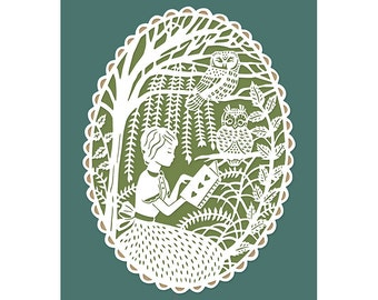 Print of Original Papercut Illustration - Reading in the Trees with Owls - 8x10 Fine Art Print