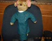"""Jane's Originals Mouse Doll 12"""" Mixed Materials OOAK Made in England"""