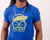 Blue with Yellow Print & Green Star Fly Nerd Hat Guy T Shirt
