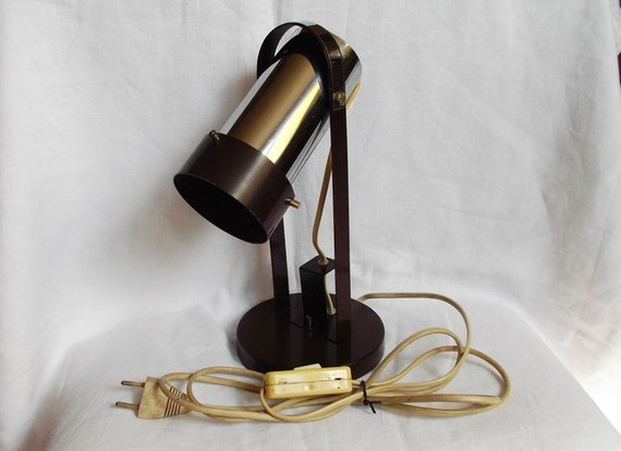 Table lamp lighting with movable shade Brown reading lamp