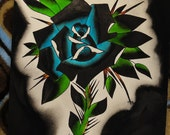 Flower blue and black -----Watercolor painting Tattoo Flash Art Hand Painted Original