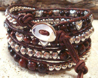 Red Tiger Eye Gemstone & Hearts with Silverplate Beads Handmade Leather 4-Wrap Bracelet