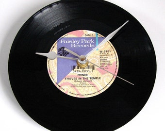 """PRINCE Vinyl Record CLOCK made from recycled 7"""" single of """"Thieves in the Temple"""". Boxed."""