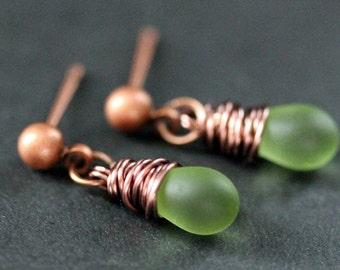 COPPER Earrings - Frosted Green Teardrop Earrings. Dangle Earrings. Stud Post Earrings. Handmade Jewelry.