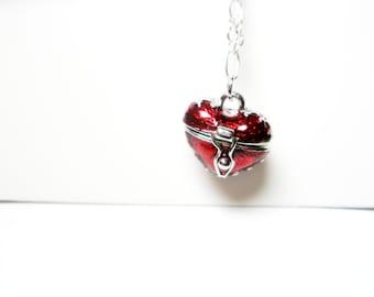 SALE Heart Necklace Red  Silver Heart jewelry - heart locket