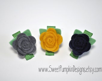 Tiny Wool Felt Flower Clips-Set of 3 Mustard, Grey, Navy Flower Clips-Pure Wool Felt-Toddler Clips - Itty Bitty Clips - IBC1106