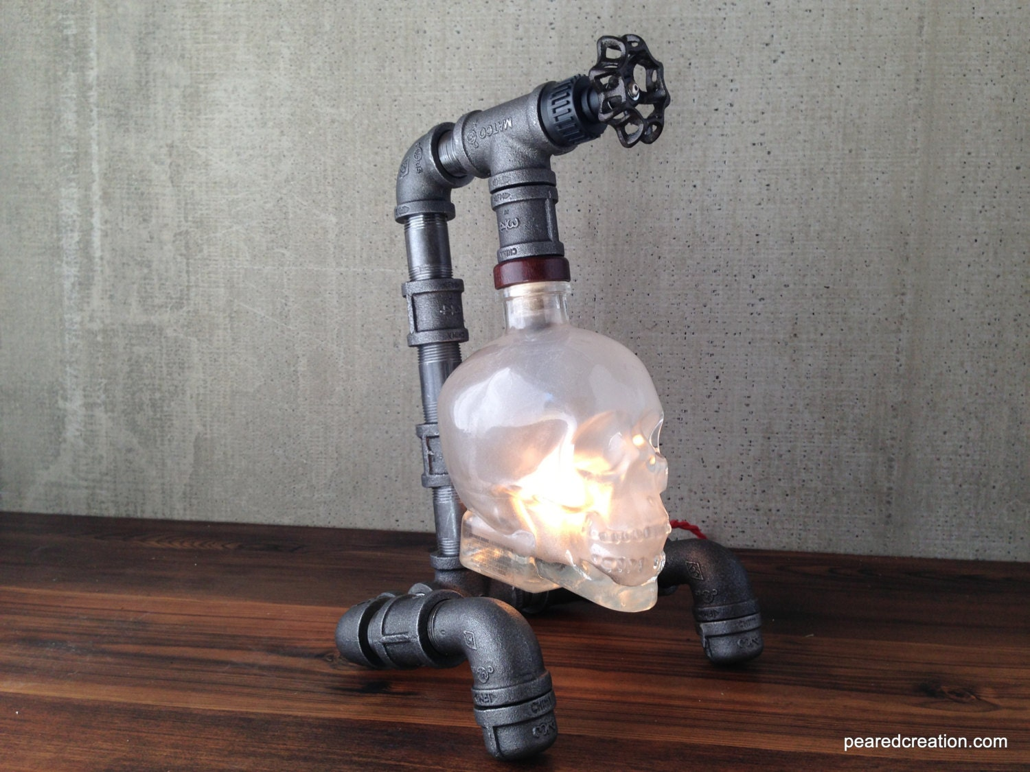 Crystal head vodka lamp skull light steampunk industrial for Making a light bulb pipe