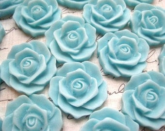 Aqua Resin Flower Cabochons / 6 pcs 25mm Aqua Resin Cabochon Flowers.... Perfect for Necklaces, Earrings and More