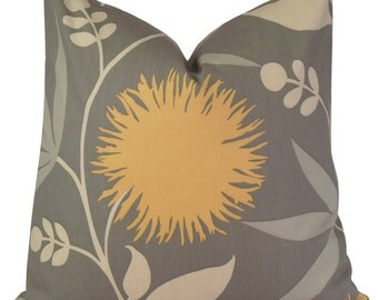 Thomas Paul Dahlia Floral Pillow Cover in Gray & Yellow - Decorative Pillow Case - Throw Pillow Sham - 18x18 20x20 22x22 or Lumbar