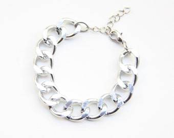 Silver Plated chunky chain Bracelet