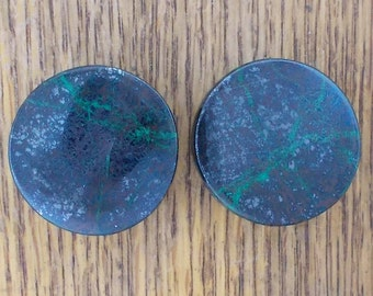 "Malachite Chrysocolla 1"", 25mm Stone Ear Plugs one pair"