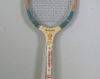 vintage wooden wilson tennis racket mary hardwick valiant with advertising cover