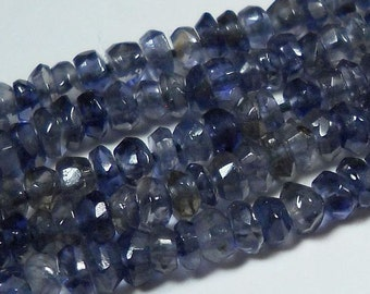 Dark Blue Iolite Hand Faceted Rondelle Beads Whole Strand  4mm - 5mm