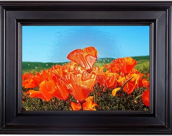 """ART PRINT 10x15"""" from my original impasto painting, 3-D impasto flower effect on the poppies from original painting seen in art print also"""