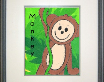 "Safari Monkeyl Digital Print Download - 8"" x 10"""