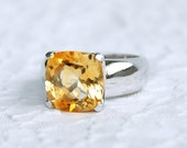 Cushion Oversize Gemstone - Sterling silver ring with Citrine
