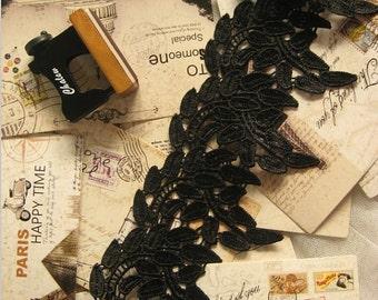 Vintage Black Lace Venice Lace Fabric