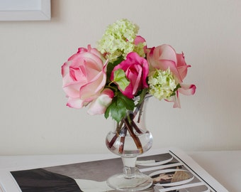 Real Touch Pink Rose Fuchsia Bud Glass Vase