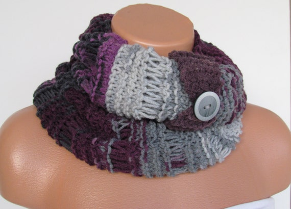 Hand Knitted Infinity Loop  Scarf,Neckwarmer,Purple and Gray Circle Scarf,Winter Accessories, Cowl,Holiday Accessories,Chunky Scarf.