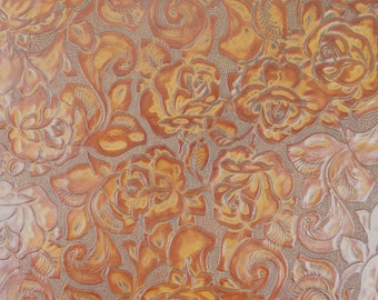 Leather Pre-Cut Square, Eagle Floral Embossed Cowhide Leather, Rust.
