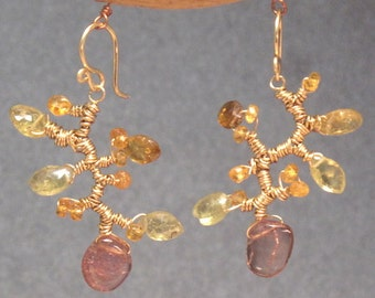 Branch earrings with citrine, green garnet, pink tourmaline Guenevere 65