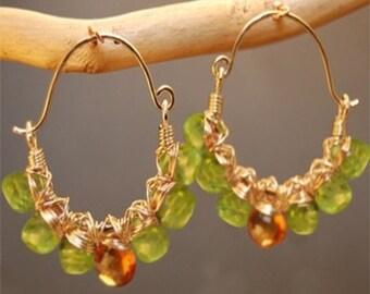 Hammered hoops with idocrase and mandarin garnet Siren 164