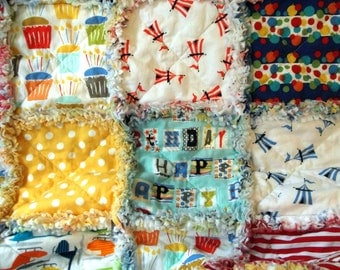 Rag Quilt, Baby or Child, Large Blanket - Celebrate