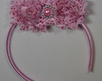 Pink Hearts Flowers Headband, Baby Valentine Headband, Girls Hearts Headband, Baby girl Headband, Newborn Headband, Shabby Chic Headband,