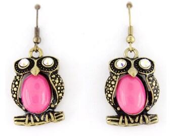 Pretty Cute Pinky Owl Girl Dangle Drop Earrings,L1