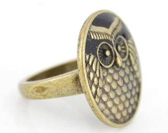 New Retro Style Gold-tone Learned Owl Ring,Size 6.5 or 7.5 or 8 <D8>