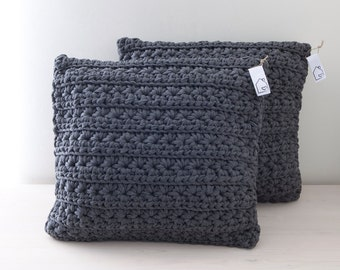 Dark grey crocheted pillow