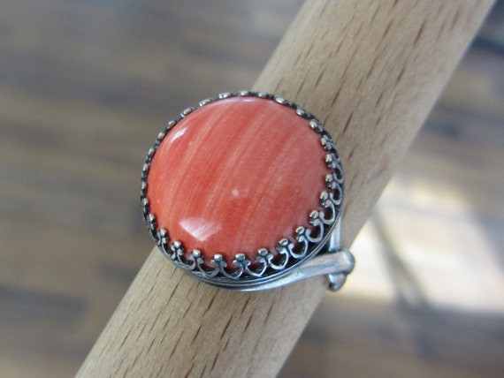 Orange Coral ring - Sterling Silver stone Ring - Adjustable ring - Natural stone ring