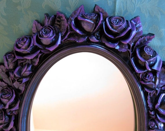 Black rose wall mirror large vintage oval by wildmountainstudio