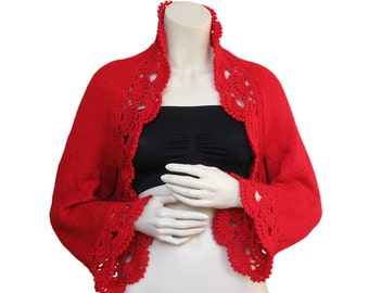 Hand knit Shrug Bolero,Red Shrug,Women Shrug,valentine's gift,christmas,Valentine