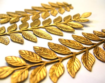3 Large Brass Fern Leaves - Brass Stampings - Brass Ferns - Brass Finding - Fern Leaf Lot