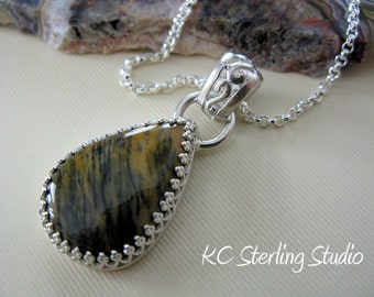 Dendritic quartz and sterling silver pendant necklace on sterling rolo chain - metalsmith silversmith