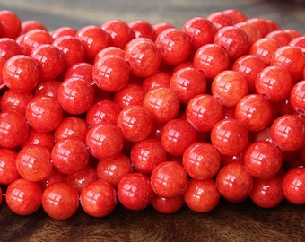 Mountain Jade Beads, Red Orange, 8mm Round - 15 Inch Strand - eMJR-R20-8